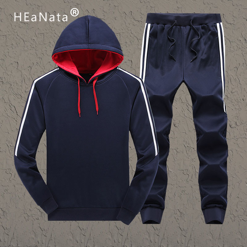 Hooded Hoodie Tracksuit Mens Sweat Suits Patchwork Black Solid Color 2019 New Autumn Winter 2pcs Hoodies Pants Sportsuit Men Set