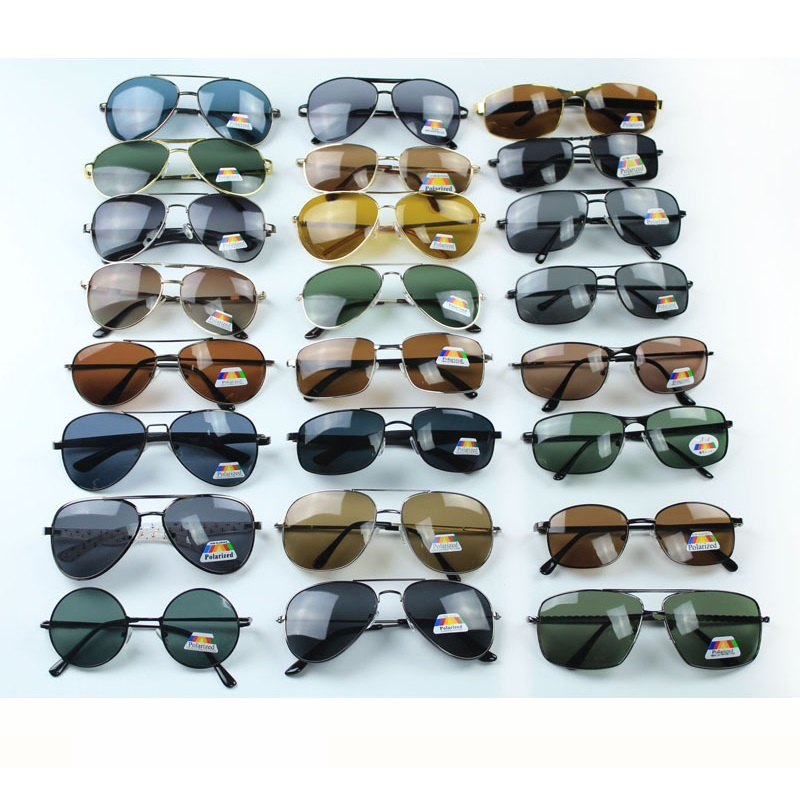 Cubojue 10 Pcs/lot Wholesale Polarized Sunglasses Men Sun Glasses For Man Rectangle Aviation Mix Models Sale In Lot Driving