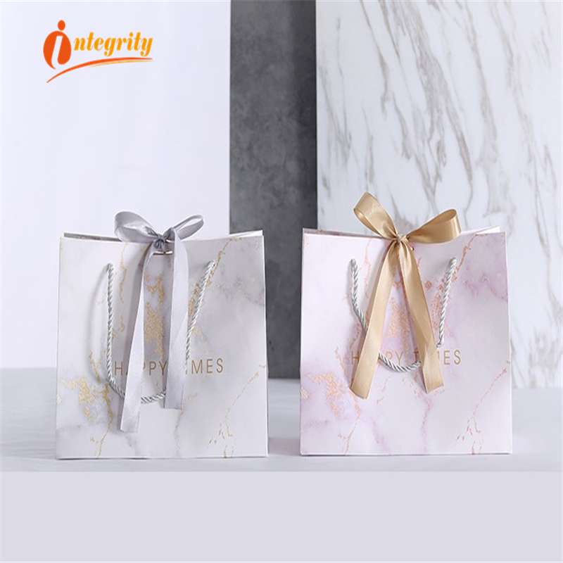 Image 3 - INTEGRITY  1pcs Marble Paper Gift Bags Garment Holiday Portable  Shopping Bag Business Packaging Wedding Party Decoration