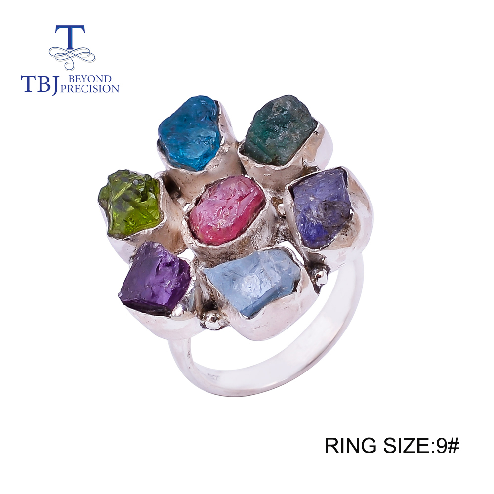 Handmade mix gemstone Big Ring 925 sterling silver fine jewelry ruby emerald amethyst different kinds gemstones Ring for women