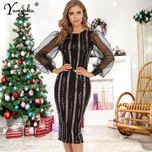 Sexy wrap maxi Sequin summer dress women vintage elegant club party bodycon Mesh Long sleeve woman Dress ladies dresses vestidos