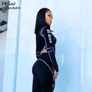 Image 2 - Women Two Piece Set 2018 Tracksuit casual Fitness Fashion Slim Sexy High Waist  full sleeve full length o neck letter