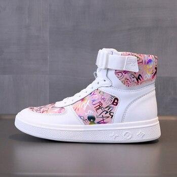 Zapatillas deportivas de piel sintética para mujer, zapatos de diseñador de alta calidad con plataforma de flores y grafiti, a la moda, para estudiantes 1