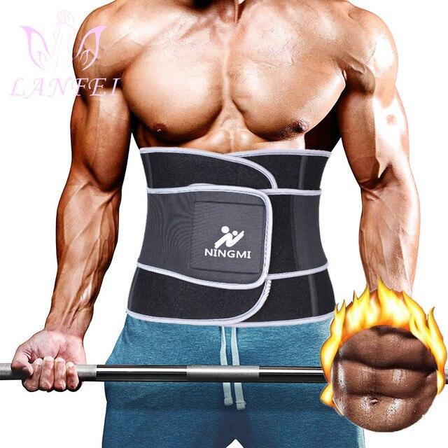 LANFEI slimming weight loss fat burner shit men sweat waist trainer trimmer belt hot neoprene body shapers tummy control corset