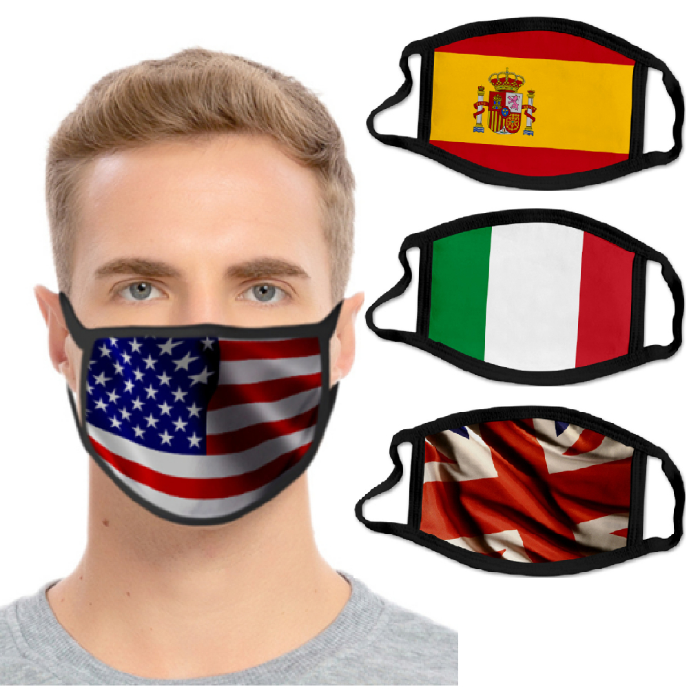 2020 Fashion Printing Mouth Mask National Flag Pattern Filter Mask Reusable Anti-Dust Anti Pollution Face Mask For Men Women