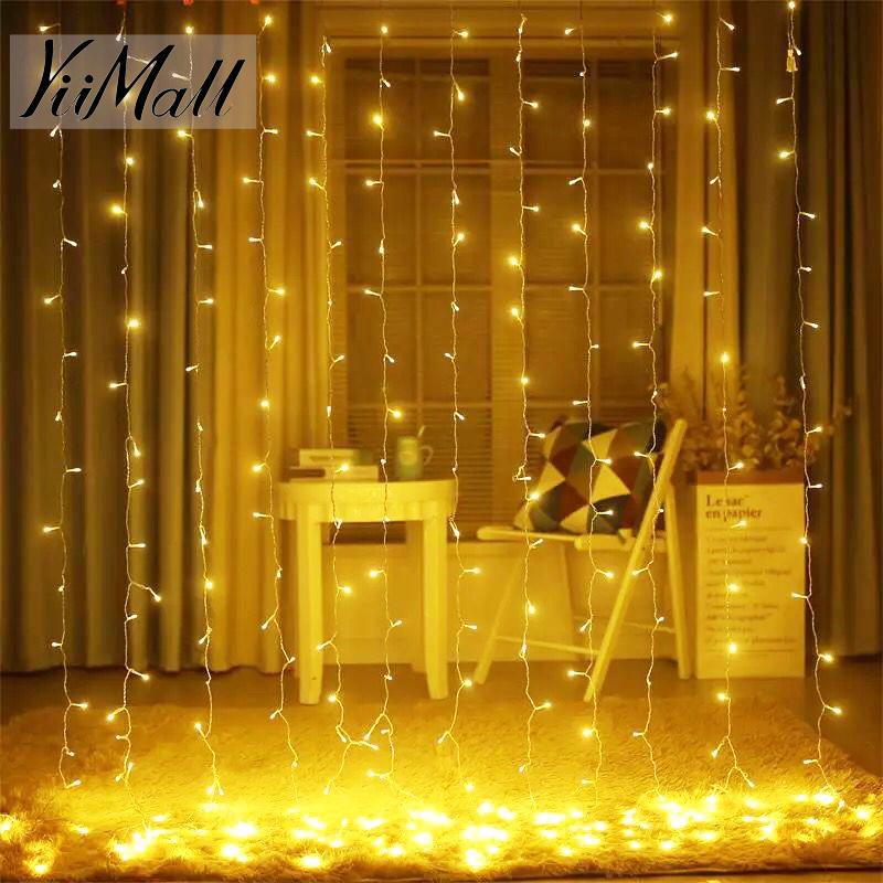 5M x 3M Decorative LED Lights Curtain String Garland Christmas Decorations Holiday Party Patio Wedding fairy lights For Room