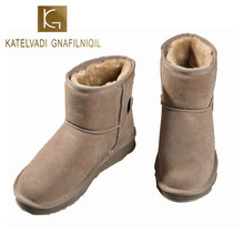 KATELVADI Women Boots Winter Shoes Flats Snow Boots Woman Plush Warm Female Genuine Leather Ankle Boots Plus Size 34-40 K-507