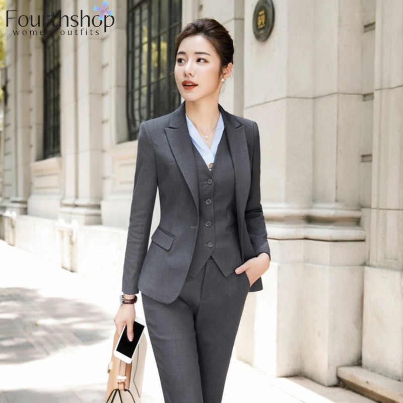 Trajes De Pantalon De Moda Para Mujer Uniformes De Trabajo De Dama Conjunto Con Pantalones Formales De Negocios Conjunto Con Americana Pantalones Informales Chaqueta Traje De Talla Grande Para Mujer Trajes De Pantalon
