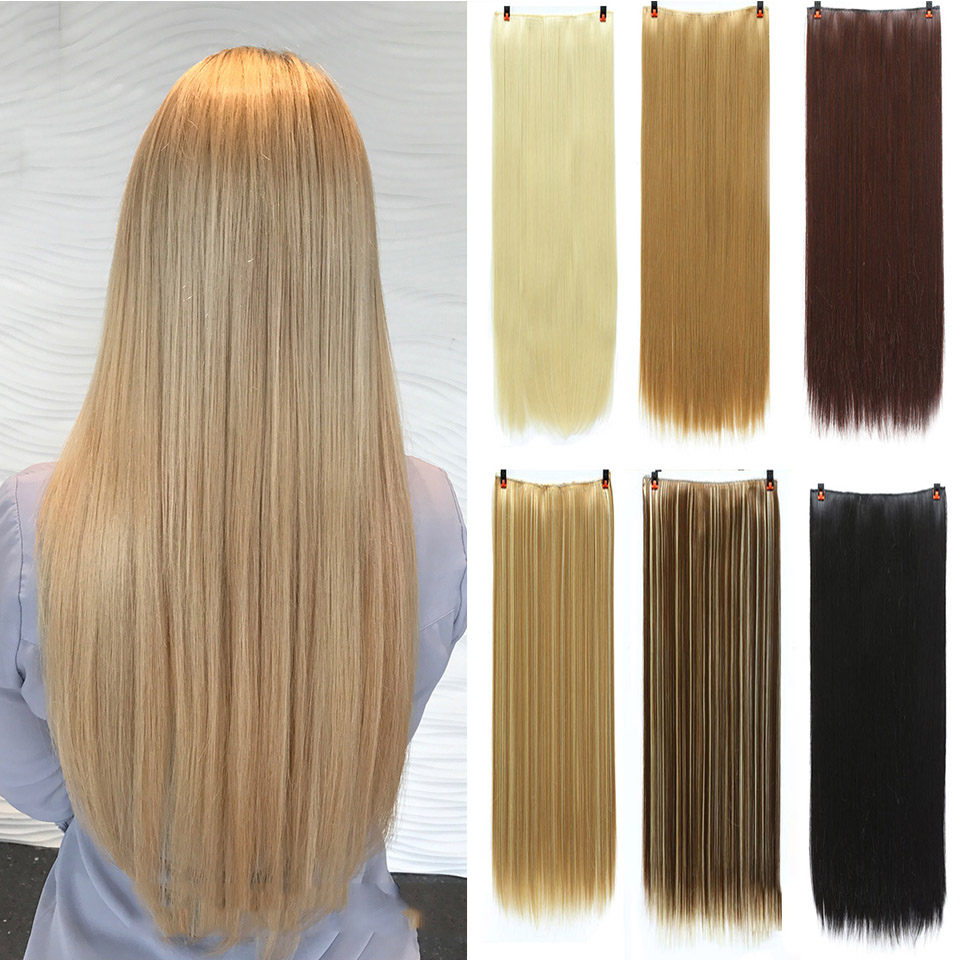 Lupu Straight Hair Women's Wig Clip 24 Inch Black Brown High Temperature Synthetic Hair Clip 5 Clip Synthetic Hair Extension