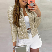 STYLISH LADY Glitter Bling Sequin Jacket 2020 Spring Women Long Sleeve Gold Silv