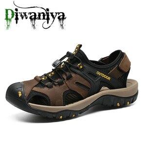 Image 1 - Diwaniya Brand Genuine Leather Men Shoes Summer New Large Size Mens Sandals Men Sandals Fashion Sandals Slippers Big Size 38 48