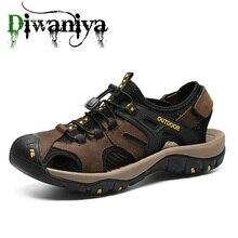 Diwaniya marca de couro genuíno sapatos masculinos verão novo tamanho grande sandálias masculinas sandálias moda chinelos tamanho grande 38 48
