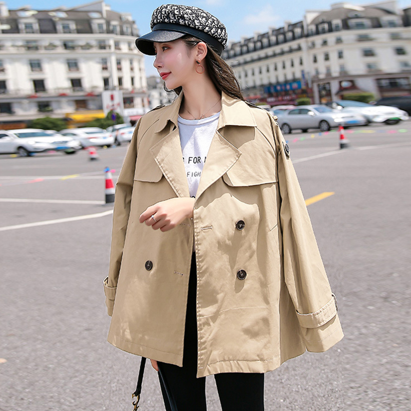 Fashion women solid loose comfortable   trench   new arrival autumn winter double breasted temperamental cute lovely outerwear coat