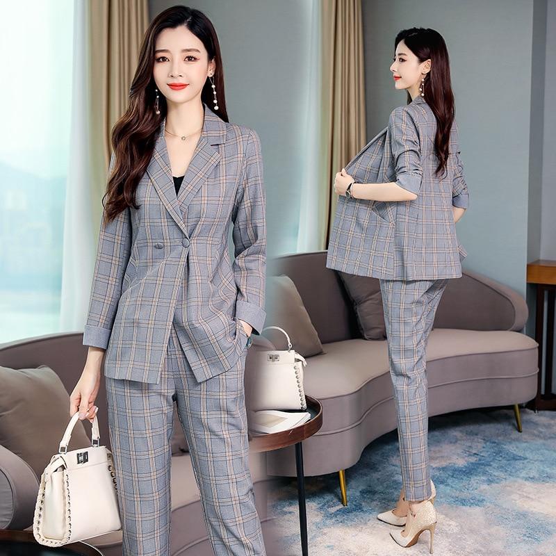 2019 Autumn New Style Plaid Suit Jacket + Korean-style Elastic Waist Slim Fit Plaid Trousers Set Two-Piece Set