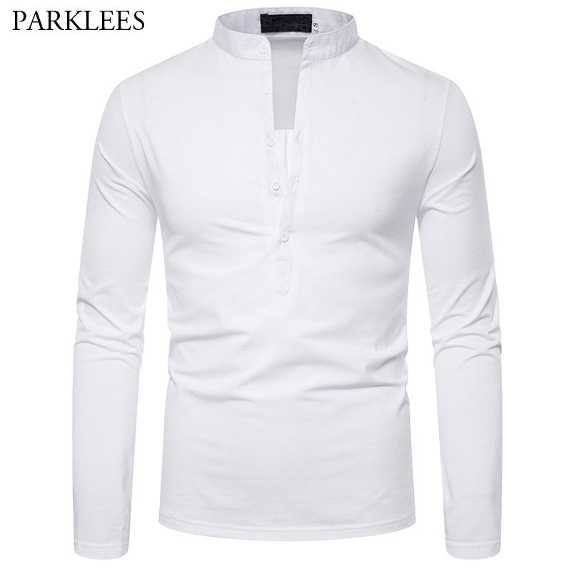 Domple Mens Cotton Linen Casual Stand Collar Short Sleeve Solid Shirt