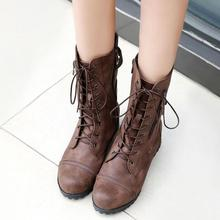 women mid-calf boots low heels warm matin shoes woman vintage lace up booties  wxz123