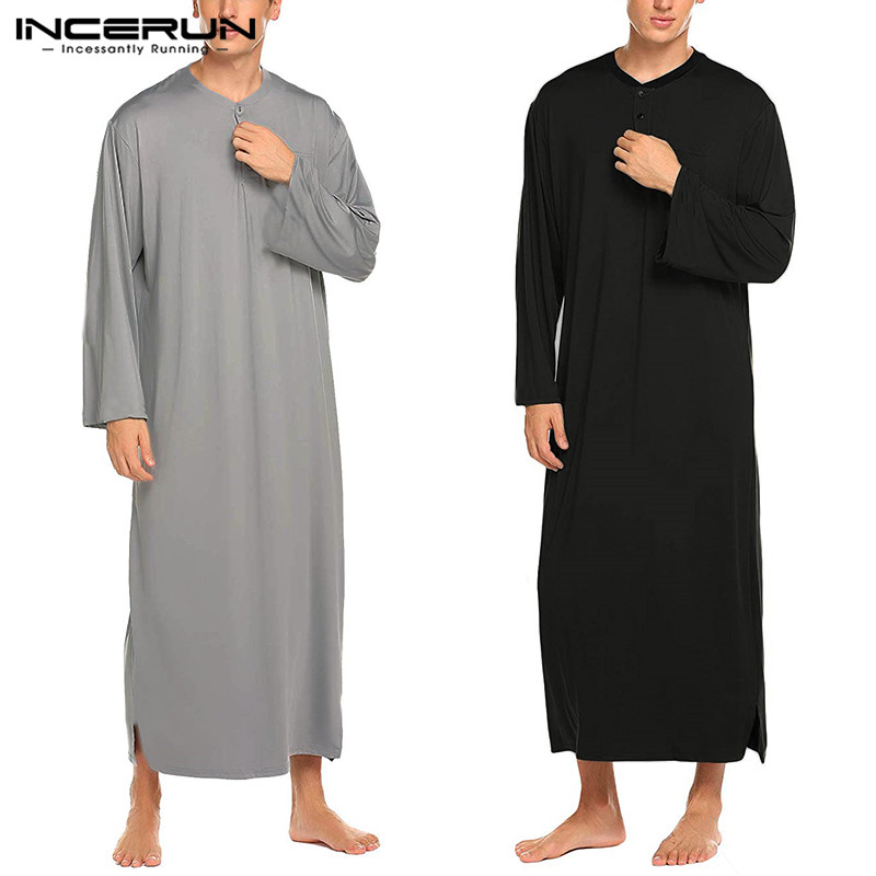 INCERUN Men Robes Solid Color Pajamas Long Sleeve Casual Homewear O Neck Button Comfortable Nightgown Bathrobes Men Kaftan S-3XL