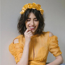 New Bohemian Headband Hair Accessories Yarn Fabric Beautiful Yellow Flowers Fashion Wild Headdress