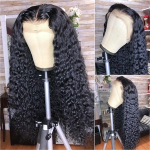 13X4 Curly Lace Front Human Hair Wigs For Women Natural Black 200% Deep Curly Wig Pluck Remy Brazilian Bleached Knots Slove Hair(China)