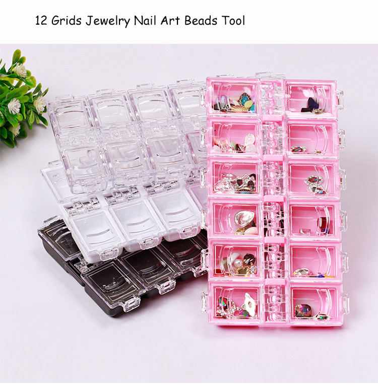 12 Grids Adjustable Transparent Plastic Storage Box For Small Component Jewelry Tool Box Bead Pills Organizer Nail Art Tip Cases
