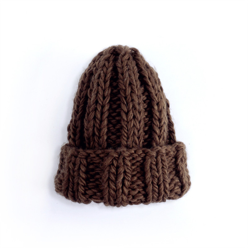 Women Winter Knitted Beanies Hat Thick Soft Warm Coarse Large Knitted Solid Hat Female Ice Ski Bonnet Skullies Beanies Hat Cap 70