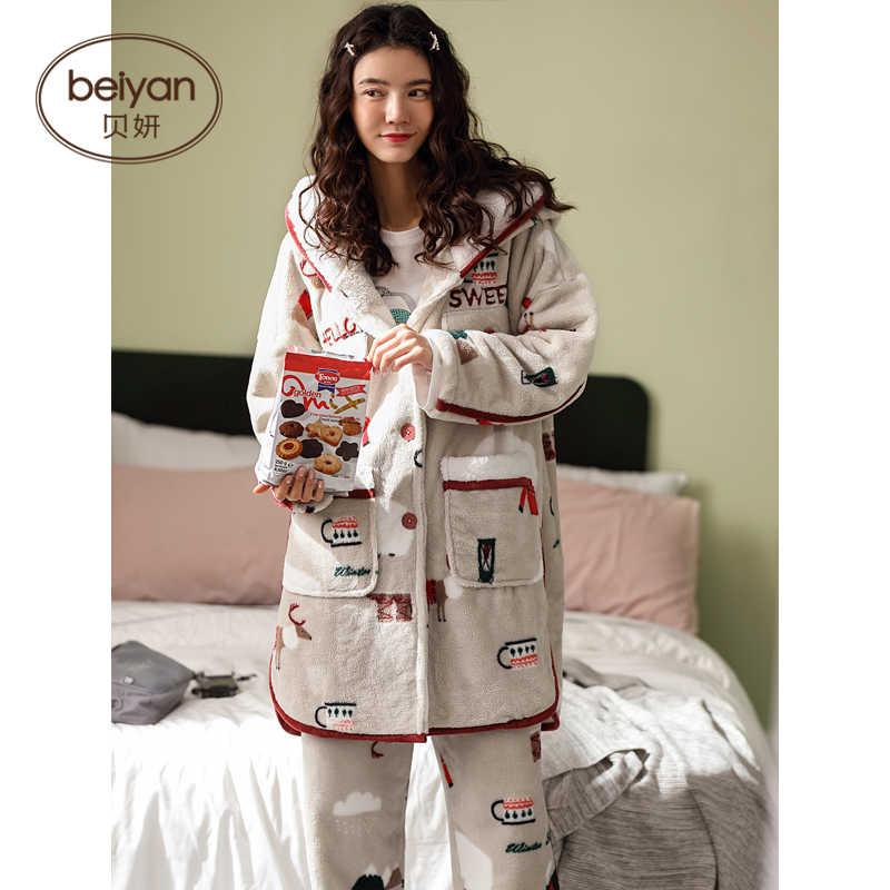 ฤดูใบไม้ร่วงและฤดูหนาวชุดนอนสตรี Coral Fleect ชุดอุ่นแขนยาวการ์ตูน Flannel Homewear ชุด