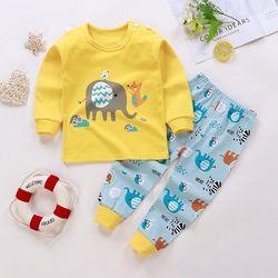 Roupa interior da criança terno algodão puro 3 6 9 12 mês 1 2 3 4 5 6 ano de idade outono bebê menino menina manga longa roupas recém-nascidos homewear