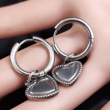2018 Fashion Heart Stainless Steel Round Earrings for Women Silver Color Hoop Earing Jewelry pendientes aro mujer E612864