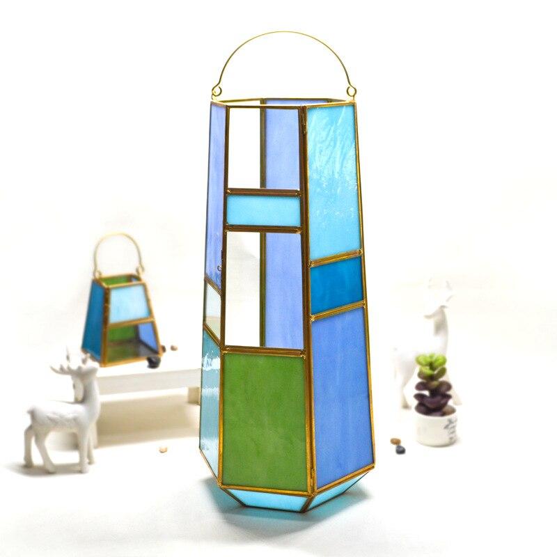 Lanterne de couleur de serre en verre de couleur de main de 6 côtés de décoration à la maison de lanterne de couleur K16040916