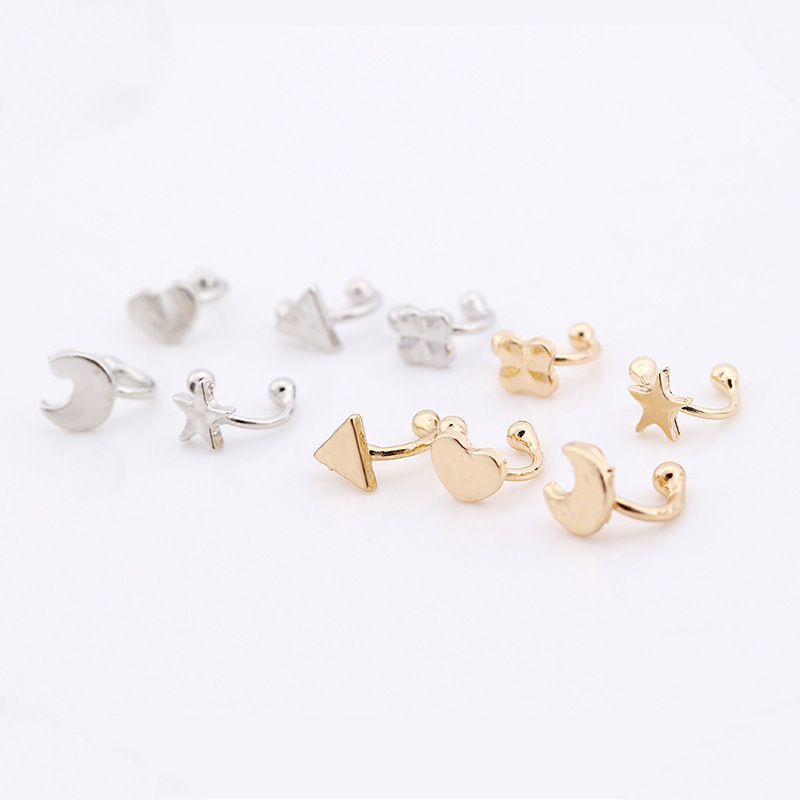 Europe and the United States hot  explosion retro five-pointed star love moon without ear piercing u-shaped earrings wholesale 1