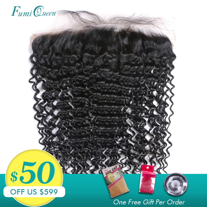 Ali FumiQueen Hair Brazilian Deep Wave Lace Frontal Human Hair Lace Closure 13