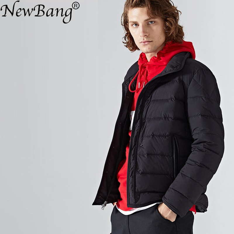 NewBang Brand Men's   Down     Coat   Male   Down     Coat   Stand Collar Men's Winter Thick Warm feather Outside Windproof Jacket