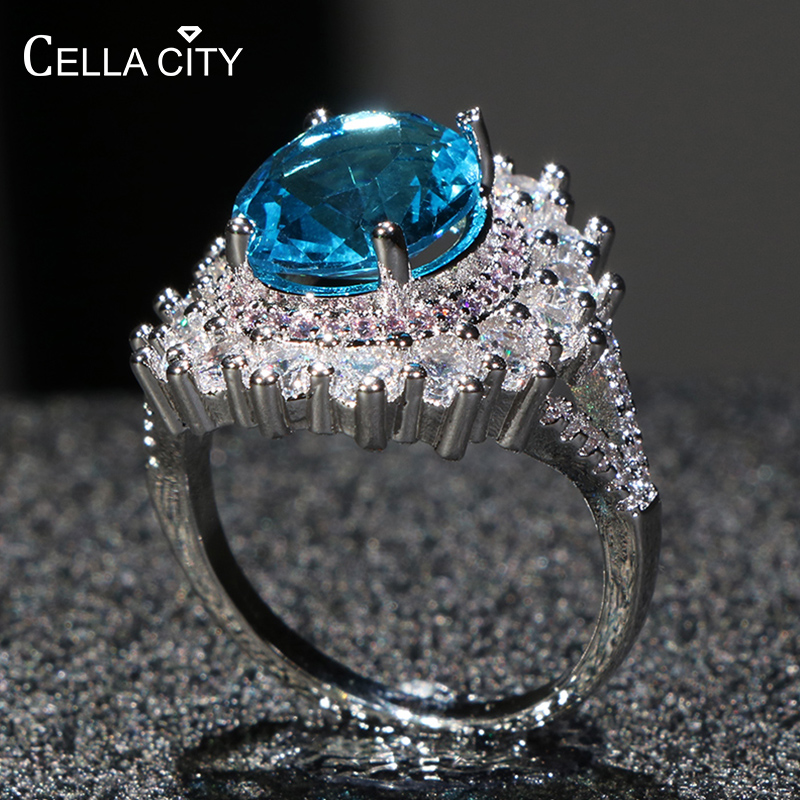 Cellacity Oval Aquamarine Ring for Women Trendy Silver 925 Jewelry Large Gemstones Female Luxury Fine Jewelry for Banquet Party