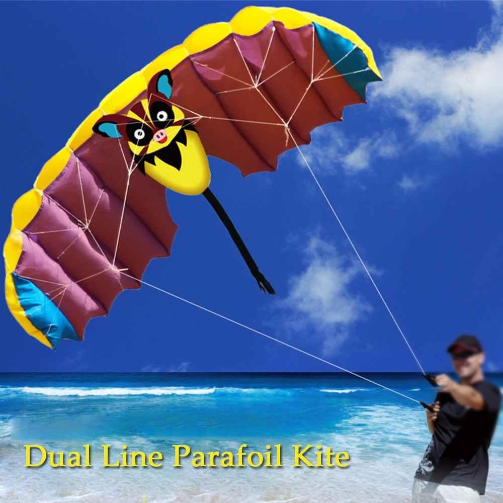 140*50 cm frameless macio dupla linha dublê parafoil pipa paraquedas esportes praia voando desenhos animados bat pipa brinquedos crianças diversão