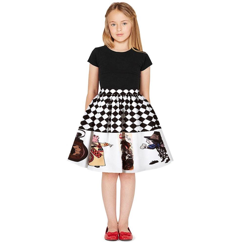 2020 New Teen Girls Summer Skirt Casual Black White Plaid Stripe Print Pleated Skirt Children Tutu Skirt Girl Clothes
