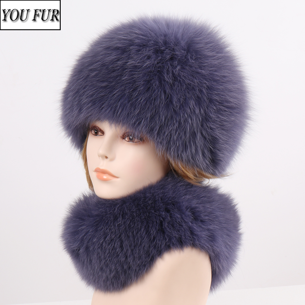 2020 New Fashion Girl Fur Cap Lady Winter Natural Real Fox Fur Fur Hat Scarf Suite Quality Women 100% Genuine Fur Hat Muffler