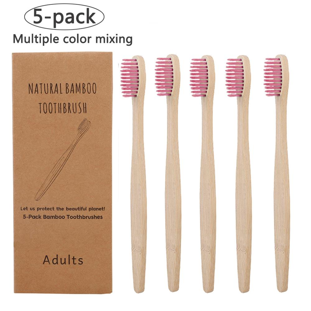 5 Pack Adult Bamboo Toothbrushes Soft Bristles Eco Friendly Cepillo Dientes Bambu Oral Care Toothbrush Clareador De Dente