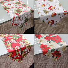 Christmas Table Runner Santa Claus Printed Banquet Tablecloth Party Dinning Cover Flag Decorations