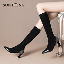 Women Shoes SOPHITINA Knee-High-Boots High-Heel Pointed-Toe Black Fashion Ladies Bling