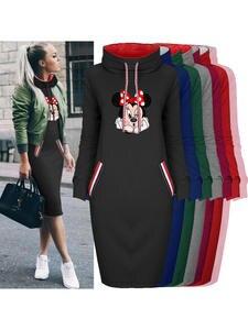 Bodycon Dress Robes Collar Mouse-Print Long-Sleeve Vestidos Vintage Casual Cartoon Woman