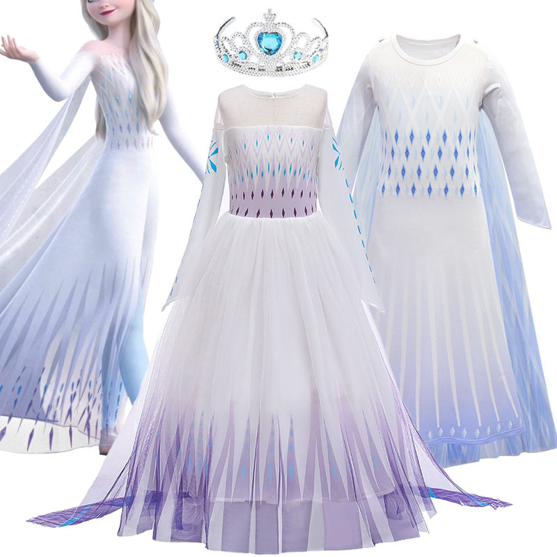 Popular Princess Ice And Snow Movie 2 Elsa Role Play Prom Party Dress Queen Girls Dress Anna Elsa 2 Cosplay Costume Kids Dress