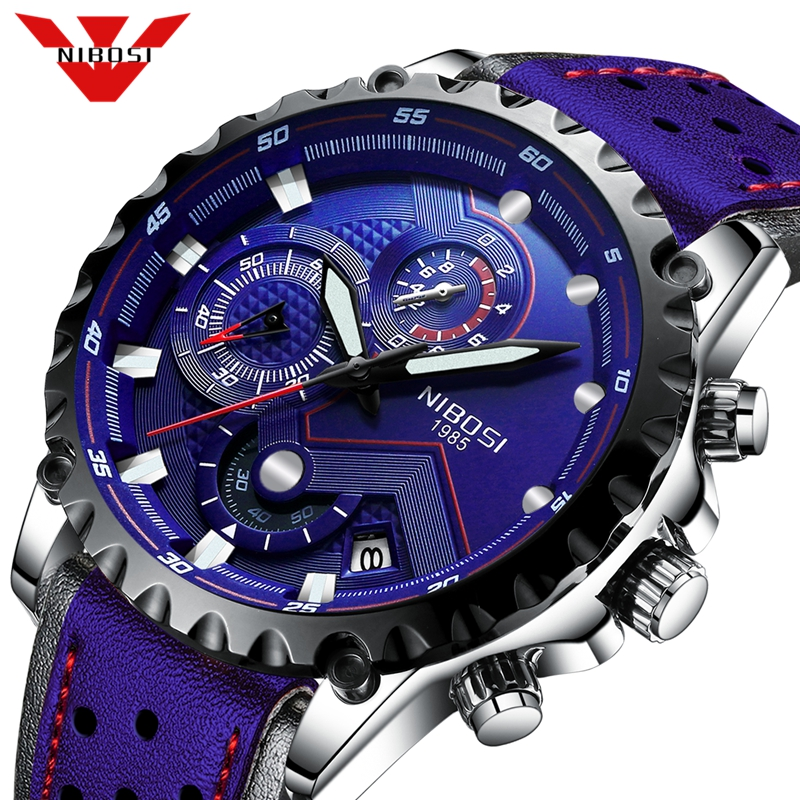 2019 New NIBOSI Men Watch Blue Leather Automatic Date Quartz Watches Mens Luxury Brand Waterproof Sport Clock Relogio Masculino