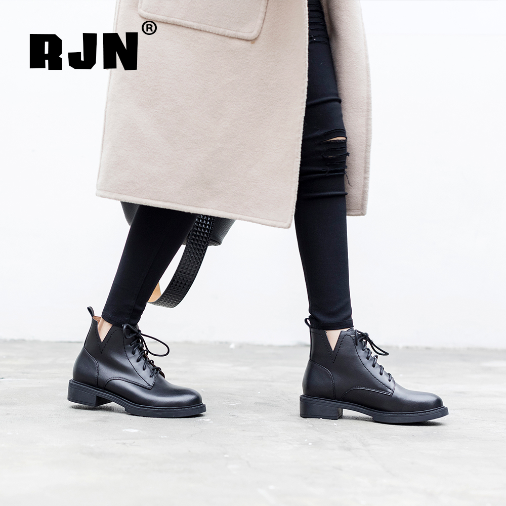 Buy RJN Classic Style Women Ankle Boots High Quality Genuine Leather Lace-Up Comfortable Round Toe Low Heel Lady Winter Boots RO05