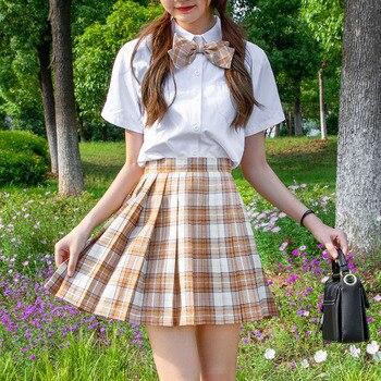 Women Dress For JK School Uniform Students Cloths  Girl's Summer High Waist Pleated Skirts Plaid Skirts high waist skirt morden style slimming high waist with brooch cotton blend women s pleated dress