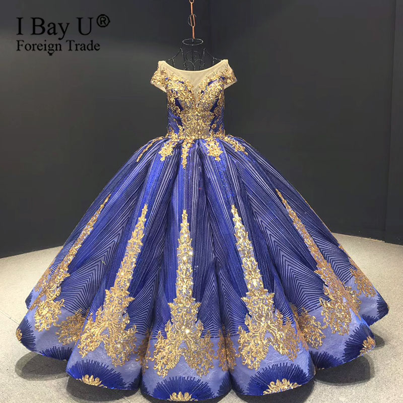 Deep Lyons Blue Wedding Dress Party 2020 Short Sleeve Lace Sequined Bridal Gowns Real Photo