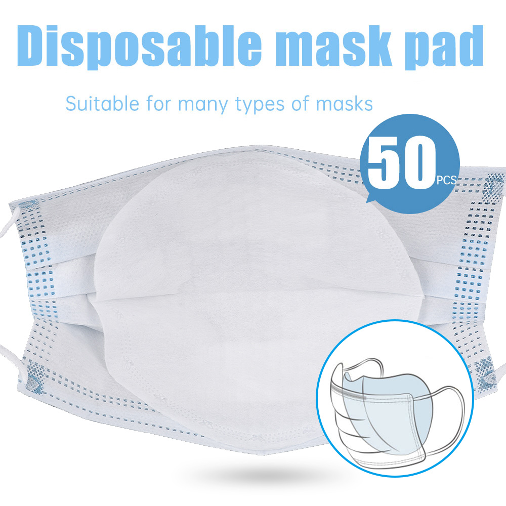 50pcs 3 Layers PM2.5 Insert Mask Filter Anti Virus Disposable Masks Filter Anti-dust Breathable Mouth Face Mask Replacement Pad