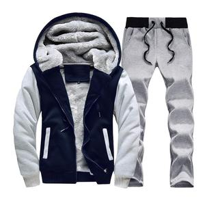 Image 4 - Men hooded Tracksuit Lined Thick Coat Sweatshirt + Pants New Sportswear Jogger Suit 2 Piece Set Brand Male Winter Sets Clothing