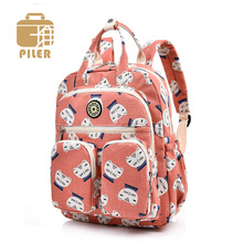 Fashion Animal Cat Print Backpack Women Canvas Cotton Backpack Female Travel Backpacks School Bags for Teenage Girls Cute Bookbag недорого
