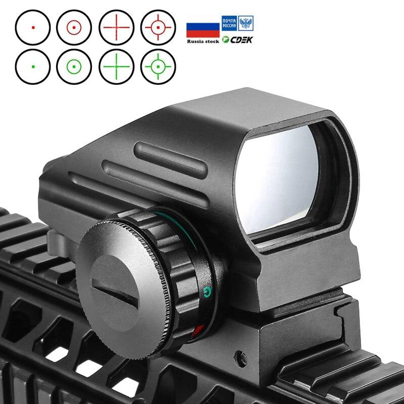 Тактический рефлекторный красный зеленый лазер 4 Сетка голографическая проекция точка зрения прицел Airgun прицел охота 11 мм/20 мм железнодорожное крепление АК Оптические прицелы      АлиЭкспресс