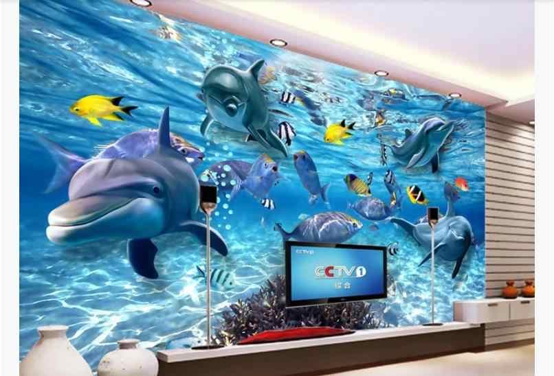 Papier peint 3D monde sous-marin moderne enfants Mural dauphin enfants chambre papiers muraux décor Papel de parede